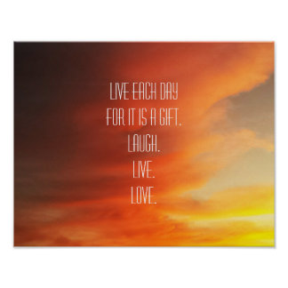 Sunset Clouds Inspirational Quote Photo Poster