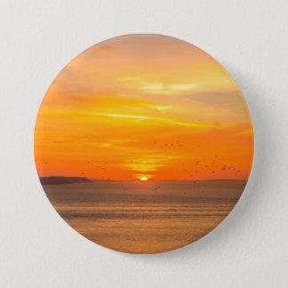 Sunset  Coast with Orange Sun and Birds 3 Inch Round Button