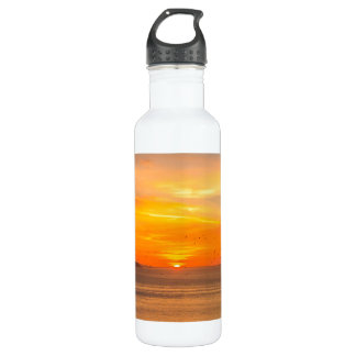 Sunset Coast with Orange Sun and Birds 710 Ml Water Bottle