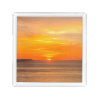 Sunset  Coast with Orange Sun and Birds Acrylic Tray