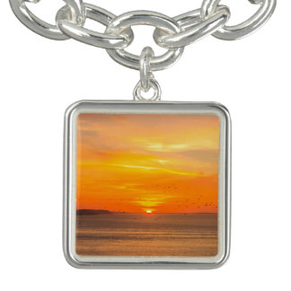 Sunset  Coast with Orange Sun and Birds Bracelet