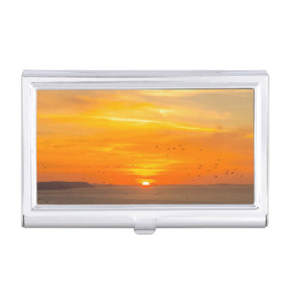 Sunset Coast with Orange Sun and Birds Business Card Holder