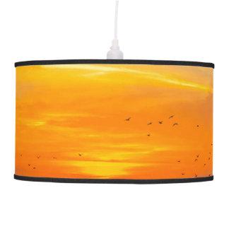 Sunset Coast with Orange Sun and Birds Ceiling Lamp