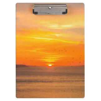 Sunset Coast with Orange Sun and Birds Clipboard