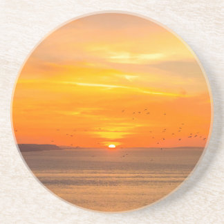 Sunset  Coast with Orange Sun and Birds Coaster