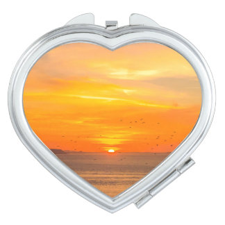 Sunset  Coast with Orange Sun and Birds Compact Mirror