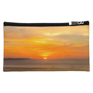 Sunset Coast with Orange Sun and Birds Cosmetic Bag