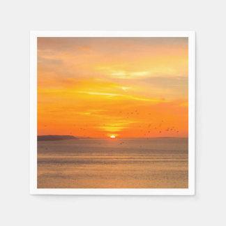 Sunset  Coast with Orange Sun and Birds Disposable Napkin