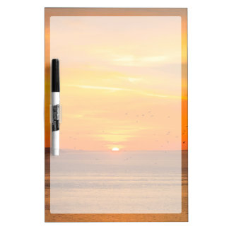 Sunset Coast with Orange Sun and Birds Dry Erase Board