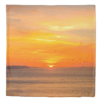 Sunset  Coast with Orange Sun and Birds Duvet Cover