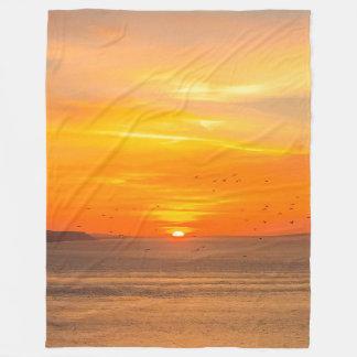 Sunset  Coast with Orange Sun and Birds Fleece Blanket