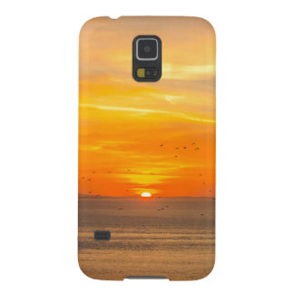 Sunset Coast with Orange Sun and Birds Galaxy S5 Covers