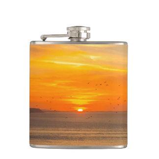 Sunset Coast with Orange Sun and Birds Hip Flask