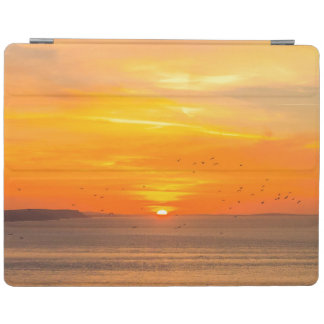 Sunset Coast with Orange Sun and Birds iPad Cover