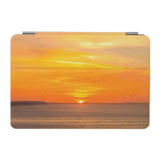 Sunset Coast with Orange Sun and Birds iPad Mini Cover