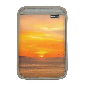 Sunset Coast with Orange Sun and Birds iPad Mini Sleeve