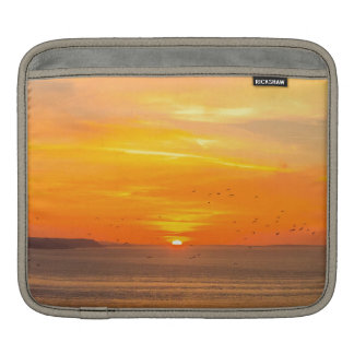 Sunset Coast with Orange Sun and Birds iPad Sleeve