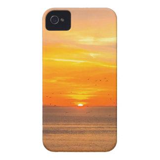 Sunset Coast with Orange Sun and Birds iPhone 4 Cover