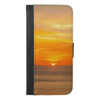 Sunset Coast with Orange Sun and Birds iPhone 6/6s Plus Wallet Case