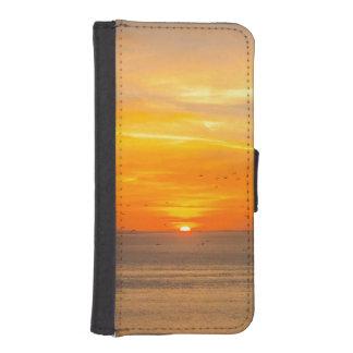 Sunset Coast with Orange Sun and Birds iPhone SE/5/5s Wallet Case