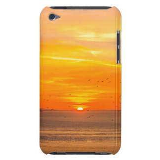 Sunset Coast with Orange Sun and Birds iPod Case-Mate Case