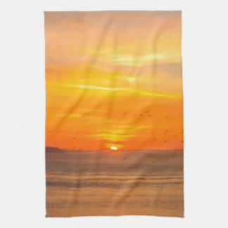 Sunset Coast with Orange Sun and Birds Kitchen Towel