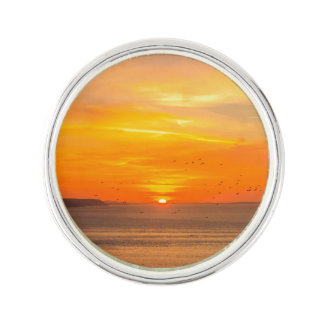 Sunset  Coast with Orange Sun and Birds Lapel Pin