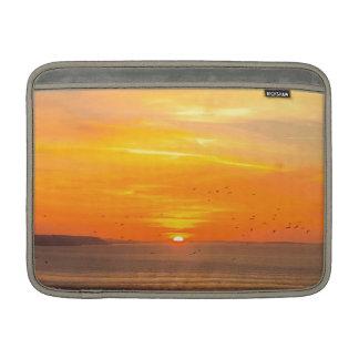 Sunset Coast with Orange Sun and Birds MacBook Sleeve