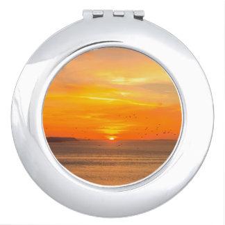 Sunset  Coast with Orange Sun and Birds Mirror For Makeup