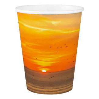 Sunset Coast with Orange Sun and Birds Paper Cup
