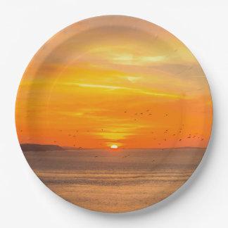 Sunset  Coast with Orange Sun and Birds Paper Plate