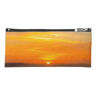Sunset Coast with Orange Sun and Birds Pencil Case