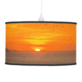 Sunset Coast with Orange Sun and Birds Pendant Lamp
