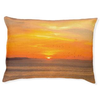 Sunset Coast with Orange Sun and Birds Pet Bed