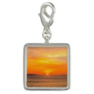 Sunset  Coast with Orange Sun and Birds Photo Charm