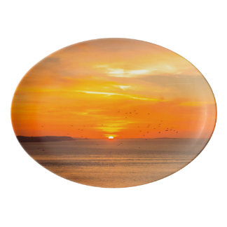 Sunset Coast with Orange Sun and Birds Porcelain Serving Platter
