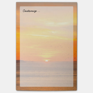 Sunset Coast with Orange Sun and Birds Post-it® Notes