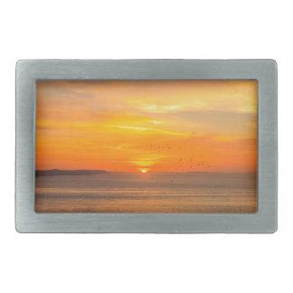 Sunset Coast with Orange Sun and Birds Rectangular Belt Buckle