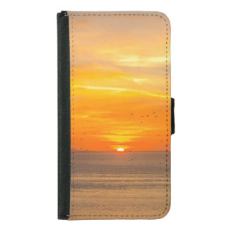 Sunset Coast with Orange Sun and Birds Samsung Galaxy S5 Wallet Case
