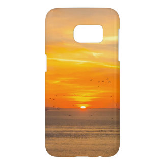 Sunset Coast with Orange Sun and Birds Samsung Galaxy S7 Case