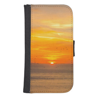 Sunset Coast with Orange Sun and Birds Samsung S4 Wallet Case