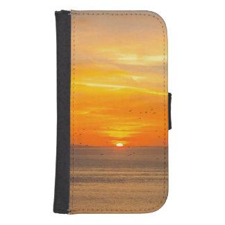 Sunset Coast with Orange Sun and Birds Samsung S4 Wallet Case