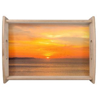 Sunset Coast with Orange Sun and Birds Serving Tray