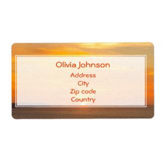Sunset Coast with Orange Sun and Birds Shipping Label