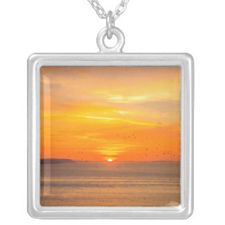 Sunset  Coast with Orange Sun and Birds Silver Plated Necklace