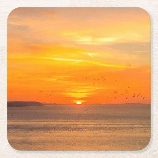 Sunset  Coast with Orange Sun and Birds Square Paper Coaster