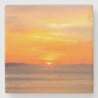 Sunset  Coast with Orange Sun and Birds Stone Beverage Coaster