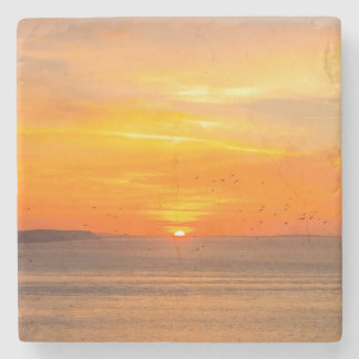 Sunset  Coast with Orange Sun and Birds Stone Coaster