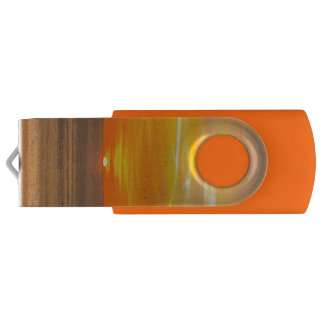Sunset Coast with Orange Sun and Birds Swivel USB 2.0 Flash Drive