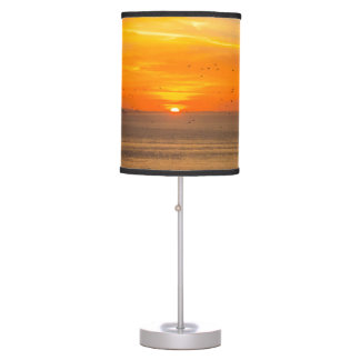Sunset Coast with Orange Sun and Birds Table Lamp